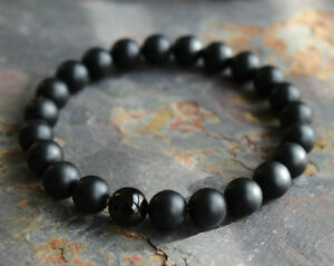 Mens Matte Black Onyx Yoga Energy Beaded Bracelet Boyfriend Gift for Him Jewelry