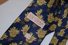 """Loewe Madrid 1846 Necktie 100% Silk Tie Blue Navy Yellow  60"""" x 3.5"""" Designer"""