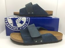 BIRKENSTOCK Womens Kyoto Blue Suede Slide Sandal Shoes Sz 9 EU40  N ZB6-656