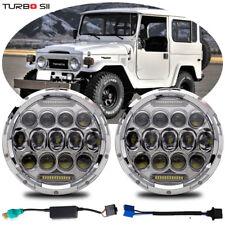 "7"" Round Chrome LED Headlight Lamp w/ DRL For 1965-1985 Toyota Land Cruiser FJ40"