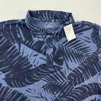 NWT Gap Lived-in Polo Shirt Men's Large Short Sleeve Blue Floral Cotton Casual