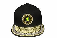 JAMAICA Country Flag Studded Black HIP HOP Rhinestone HAT CAP ..  NEW