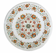"""12"""" White Marble Restaurant Coffee Side Table Marquetry Inlay Design Arts H2439"""