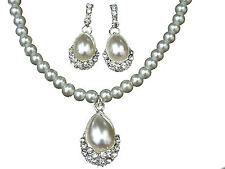 Bridal Bride Pearls Pear Pendant Teardrop Jewellery Set Earrings Necklace S154