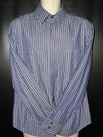 Mens Casual French Connection Blue striped Long sleeve shirt Size L