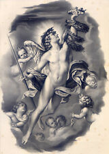 Der Genius des Ruhms-Engel-Putten-große Lithograph.-Carracci-Hanfstaengl 1835-52