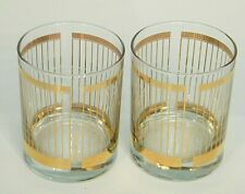 "2 ViNTAGE 12 oz GEORGES BRiARD GOLD STRiPE 4"" DOUBLE OLD FASHiONED GLASSES"