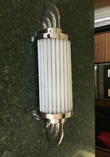 Antique Vintage Art Deco Nickel Brass & Milk Glass Ship Light Wall Sconces Lamp