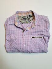 English Laundry Lions Crest Men's Shirt 2 XL Pink Plaid Contrast Collar Cuffs