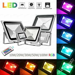 ⭐⭐10W-100W RGB LED Floodlight Colour Changing Outdoor Garden Spotlight IP65 QE