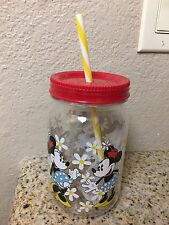 Disney Minnie Mouse Jar Straw Red Clear Mason Cup Water Bottle White Flowers