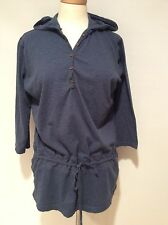Columbia Heathered Blue Pullover w Hood Athletic Top Size Xl ,L