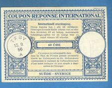 1956 SWEDEN INTERNATIONAL REPLY COUPON 60 ORE TABY 1184