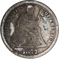 1877-P LIBERTY SEATED SILVER DIME VG DETAILS  CULL CONDITION  041821026
