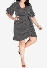 City Chic Plus Size Trendy Chenelle Striped Wrap Dress Size S/16