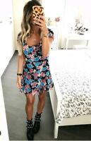 ZARA NEW FLORAL PRINTED SHORT FLOWY DRESS SIZE M UK 10
