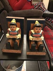 Pinnochio Wooden Bookends