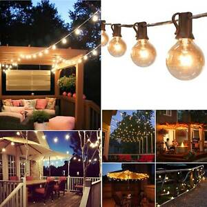Retro Solar String Lights Outdoor Garden 50FT Festoon Party Globe Bulbs Light