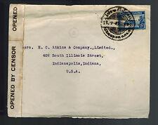 1943 Bangkok Thailand Censored Cover to USA