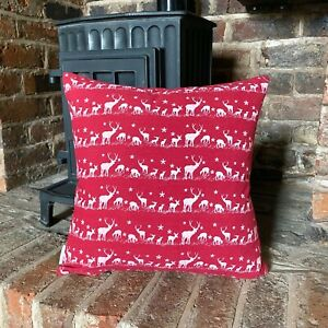 428. Christmas Reindeer Red Linen/Cotton Cushion Cover. Various sizes