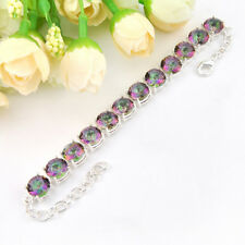 Huge Square Rainbow Fire Mystical Topaz Gems 925 Vintage Silver Plated Bracelet