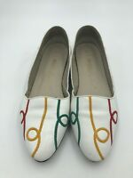 Vintage Enzo Angiolini Leather Decorative Flats White Multicolor Stitching 7.5