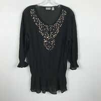Chico's Blouse Size 2 Black Beaded Sequin 3/4 Sleeve Semi Sheer Boho Womens Top