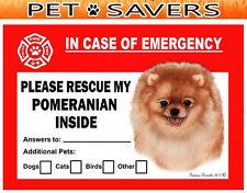 Pomeranian Pet Savers Emergency Rescue Window Cling Sticker