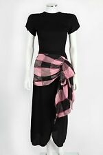 Vtg c.1940's Helen Wolff Black Crepe & Pink Plaid Taffeta Evening Dress Sz Xs