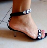 Sandali Gioiello BB Neri Tacco Donna Decolletè 37 Woman Shoes MADE ITALY Schuhe
