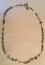RARE Vintage GAS BIJOUX Opera Length Necklace Mother of Pearl and Glass Beads