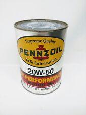 Vintage Pennzoil Motor Oil GT PERFORMANCE Full 1 US Quart 20W-50
