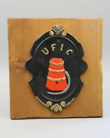 Vintage Cast Iron fireman United Fire Insurance UFIC Mark Wall Sign Plaque plate
