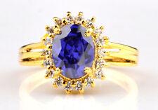 1,85KT 585er gelbes Gold Natürlich blau Tansanit EGL Zertifiziert Diamant Ring