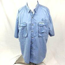 Hook & Tackle Sportsmans Gear Mens Shirt XL Blue Cargo Fishing Short Sleeve