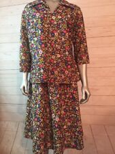 Vintage Medium Flower Child 70's 2 Piece Skirt Set Funky Floral Retro Print