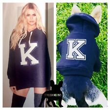 Felpa con cappuccio Iniziale Personalizzata Cane Top Felpa Con Cappuccio Piccolo Animale Domestico Abbigliamento Maglione Kardashian