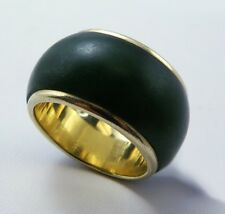 Vintage Unique Genuine Jade Ring Band Inlaid 14K Yellow Gold, Size 6.5