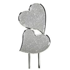 "CAKE TOPPER DOUBLE HEARTS GLITTER GALORE ENGRAVED FREE ON BACK WEDDING  7"" NEW ~"