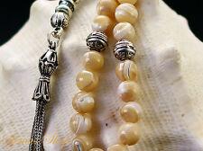 Wunderschöne Islamische Gebetskette ECHTE PERLMUTT Sedef Tesbih mit Silberkette