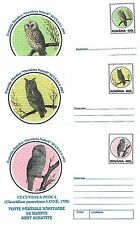 OWLS BIRDS - SET OF 3 POSTAL STATIONERY COVERS -  ROMANIA 1930