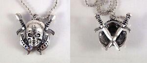 Halloween Silver Skull & Sword Necklace UK Stock