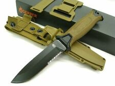 GERBER Coyote Brown STRONGARM Serrated Fixed Blade Knife + Sheath!