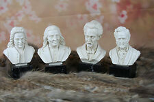 Musicians set Alabaster Resin Busts marble base bach  Wagner, Liszt,Straus