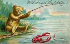 Embossed Postcard Teddy Bear Fishing for Lobster - used in 1907