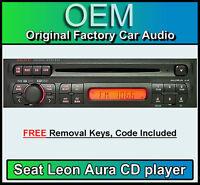 Seat Leon Aura CD player, Seat Aura car stereo radio, supplied with radio code
