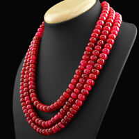 GENUINE 958.50 CTS EARTH MINED 3 STRAND RICH RED RUBY ROUND SHAPE BEADS NECKLACE