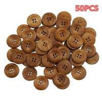 50PCS Bulk Lot Brown Wooden Round 4 Hole Flat Buttons Sewing Coat Craft DIY 25MM