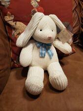 Dakin Billy Bunny stuffed animal Plush white knit sweater covered baby nursery