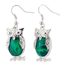 2018 New Handmade Jewelry Green Malachite Gems Silver Owl Hook Earrings